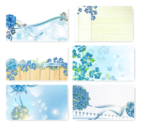 Abstract Valentine`s day template set with forget-me-not flowers Vector