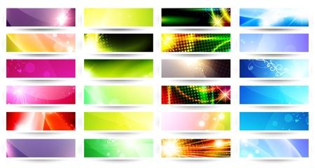 variety of 24 horizontal multicolored web banner set over white Vettoriali