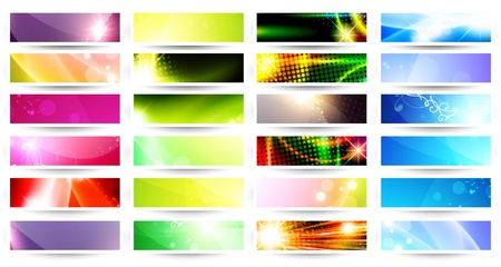 variety of 24 horizontal multicolored web banner set over white Vectores