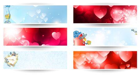 variety of horizontal Valentine day web banner set over white Vector
