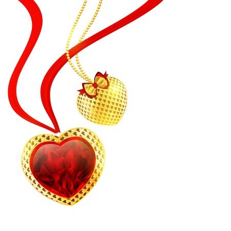 ruby gemstone: Valentine`s day golden hearts over white