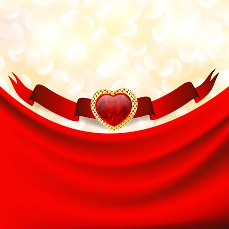 ruby heart at banner with red drapery, Valentine background Stock Vector - 12048499