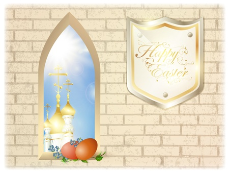 holy leaves: Easter religion scenery with church cupola in arc window and eggs, greetings Illustration