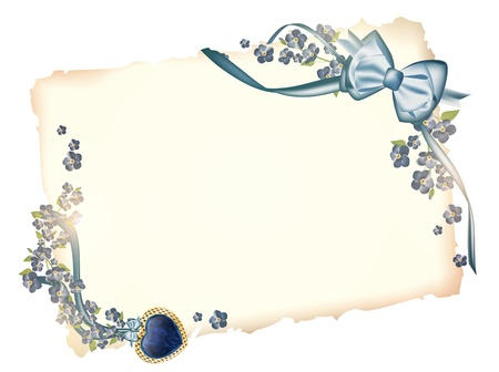 papyrus: Valentine`s day template, decorated with heart at ribbon bow and forget-me-not flowers