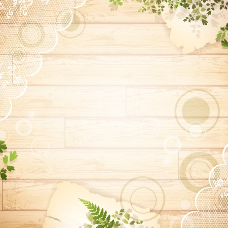 wooden background with lace fabric and green leaves Vectores