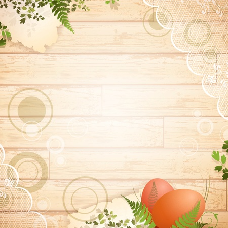 Easter wooden background with vintage lace and floral elements Vector
