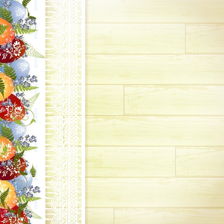 Easter wooden background with lace frame, eggs and forget-me-not flowers Vector