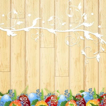 Easter wooden background with lace frame, eggs and forget-me-not flowers