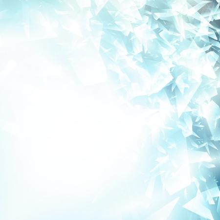 vetro rotto: Estratto vetri rotti o sfondo blu ghiaccio, copyspace per il testo