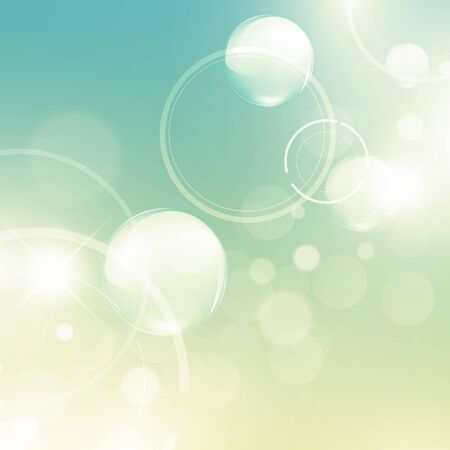 bubbly: Abstract aery light green background with bokeh and stars