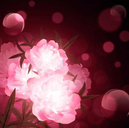 peony flowers over holiday aery background Vector