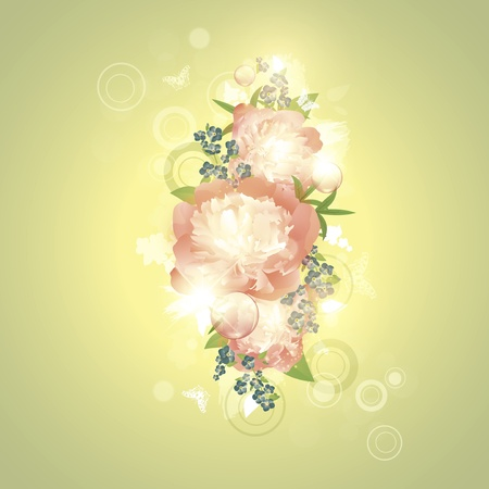 Abstract floral background with butterflies and peony flowers Vector