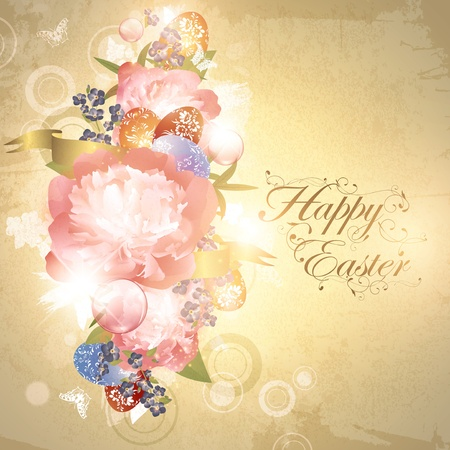 flower decoration: Easter floral background with eggs and peony flowers