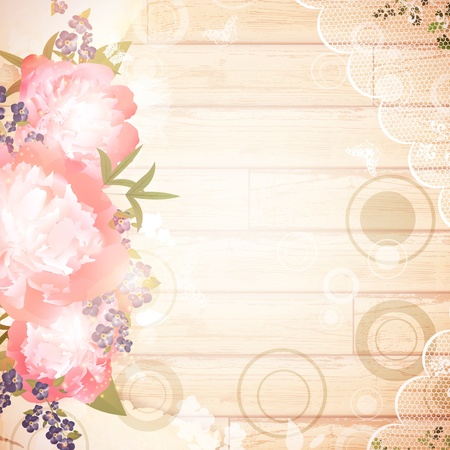 Vintage wooden background with floral decoration and lace frame
