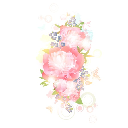 Abstract floral background with butterflies and peony flowers over white background Vector