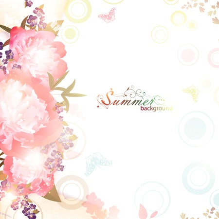Abstract summer floral background with butterflies and peony flowers, copyspace Vector