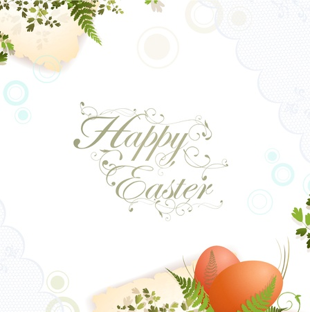Easter holiday frame with lace and eggs elements Vector