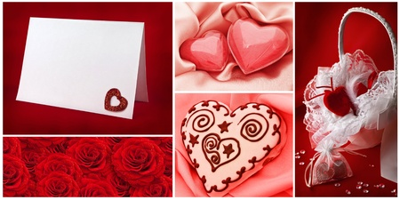 Valentine`s day greetings backgrounds collection with hearts photo