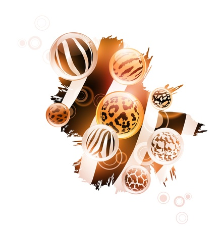Abstract wild decoration with different animal patterns in round shapes over white background Vector