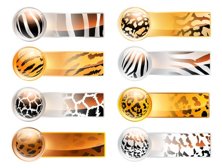 leopard print: Abstract wild variety of 8 horizontal web banner set with different animal patterns