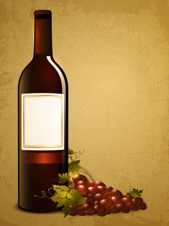 bottle of red wine with red grape over vintage grunge background Stock Vector - 12484995