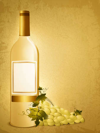 bottle of white wine with green grape over vintage grunge background Vector