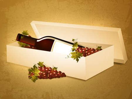 red wine bottle: Ilustraci�n de la botella de vino tinto en caja con uvas sobre el fondo del grunge Vectores