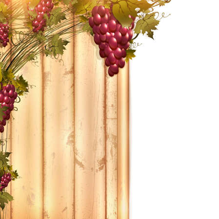 winery: Illustration of red grape vine frame at wooden fence with copyspace for your text
