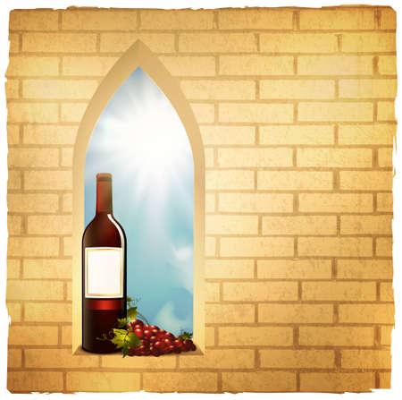 red wine bottle: Ilustraci�n de la botella de vino tinto en la ventana de arco de ladrillo en la pared de fondo del grunge Vectores