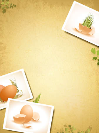 Vintage Easter background with some egg photos, copyspace for your text Vector