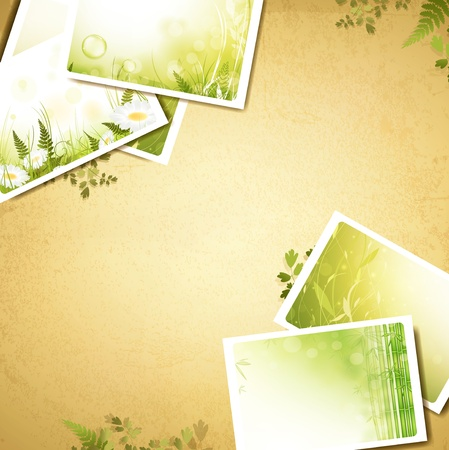 Vintage eco background with some nature photos, copyspace for your text Stock Vector - 12485085