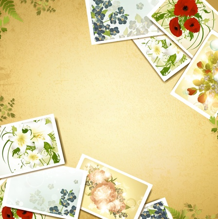 flower photos: Vintage floral background with some flower photos, copyspace for your text