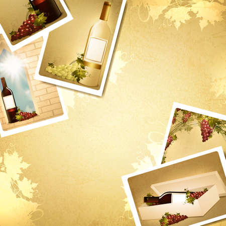 winemaking: Vintage winemaking  background with some wine photos, copyspace for your text