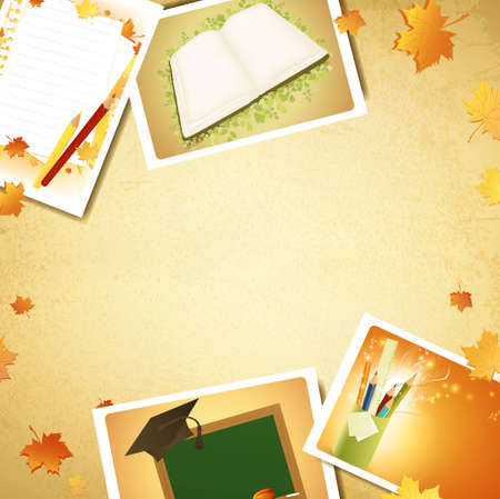 Vintage education background with some schooling photos, copyspace for your text Vector