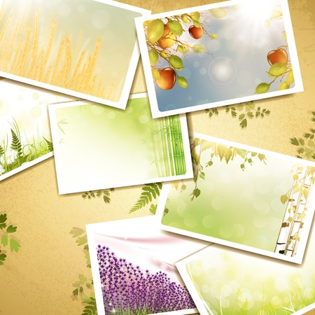 Vintage eco background with nature photos Vector