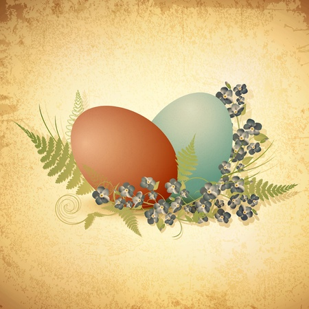 Easter vintage background with eggs and forget-me-not flowers Stock Vector - 12822799