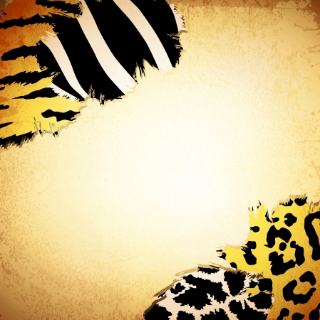 safari: Vintage background with some animal print patterns, copyspace for your text Illustration