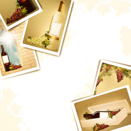winemaking: winemaking frame with some wine photos, copyspace for your text