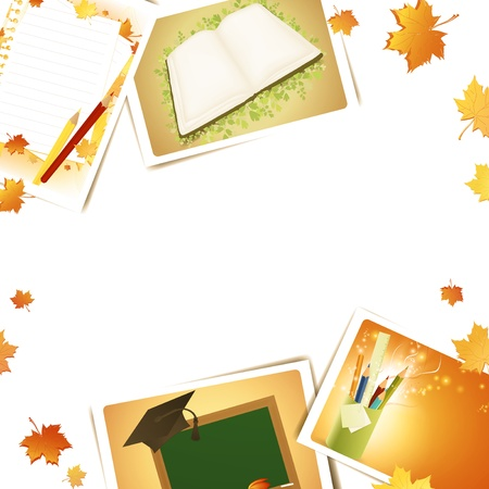 Education frame with some schooling photos, copyspace for your text Vector