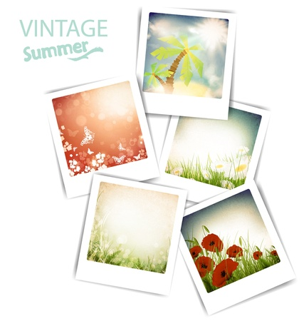 Some vintage summer photos with flowers and sun, white background Vector
