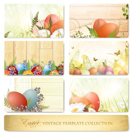 postcard background: Easter vintage floral template collection with eggs over white Illustration