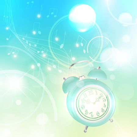 Wake up! Illustration of morning with ringing alarm clock over abstract light background Illustration