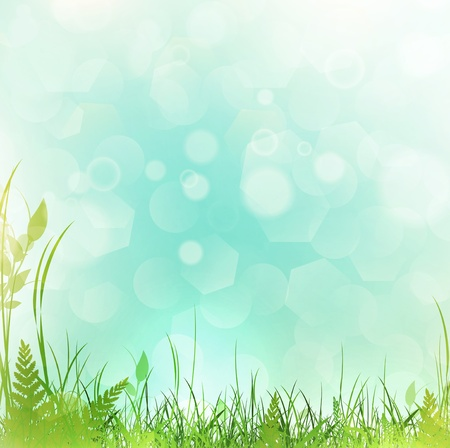 spring or summer meadow with green grass over blue sky, copyspace Vector