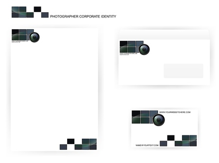 autofocus: set of photographer corporate identity templates with camera lens Illustration