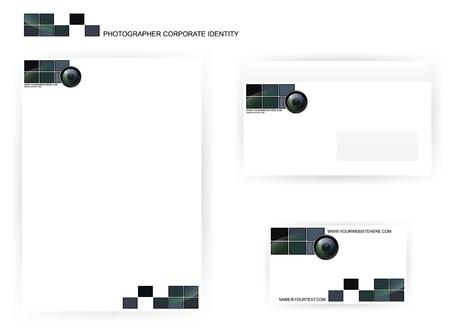 hojas membretadas: un conjunto de plantillas de fotógrafo de identidad corporativa con lente de la cámara
