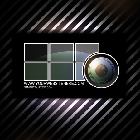 photographer abstract business card template with camera lens Vector