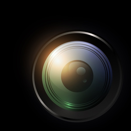 autofocus: illustration of camera lens over black background