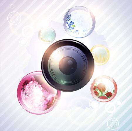 lense: illustration of abstract photographer background with flowers in round shapes and camera lens