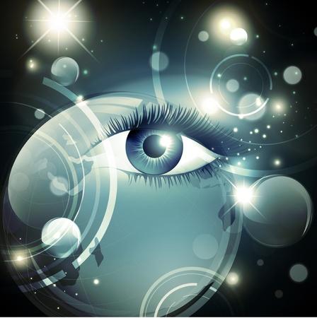 Resumen mística fondo psicodélico noche galaxia de estrellas y una mujer abrió los ojos Ilustración de vector