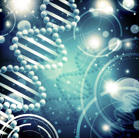 Abstract science background with DNA theme and stars